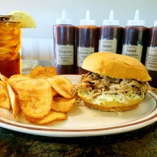 Pulled pork BBQ sandwich with home-fried chips