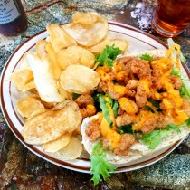 Shrimp Po'Boy with home-fried chips
